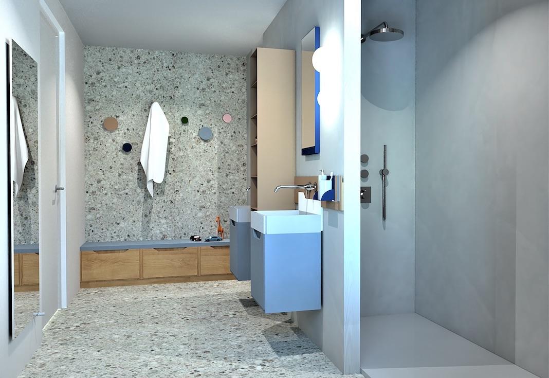 bancs avec rangements dans une salle de bains bleue pour enfants