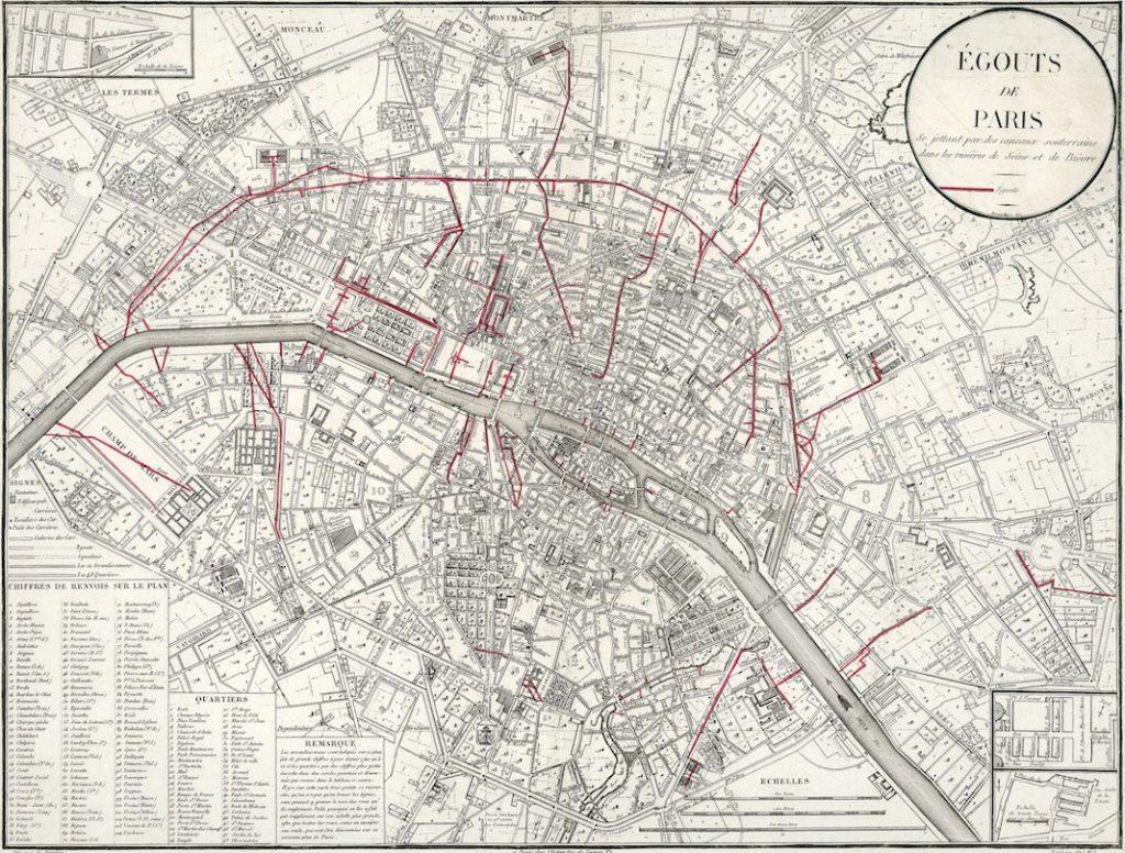 plan des égouts de Paris en 1821
