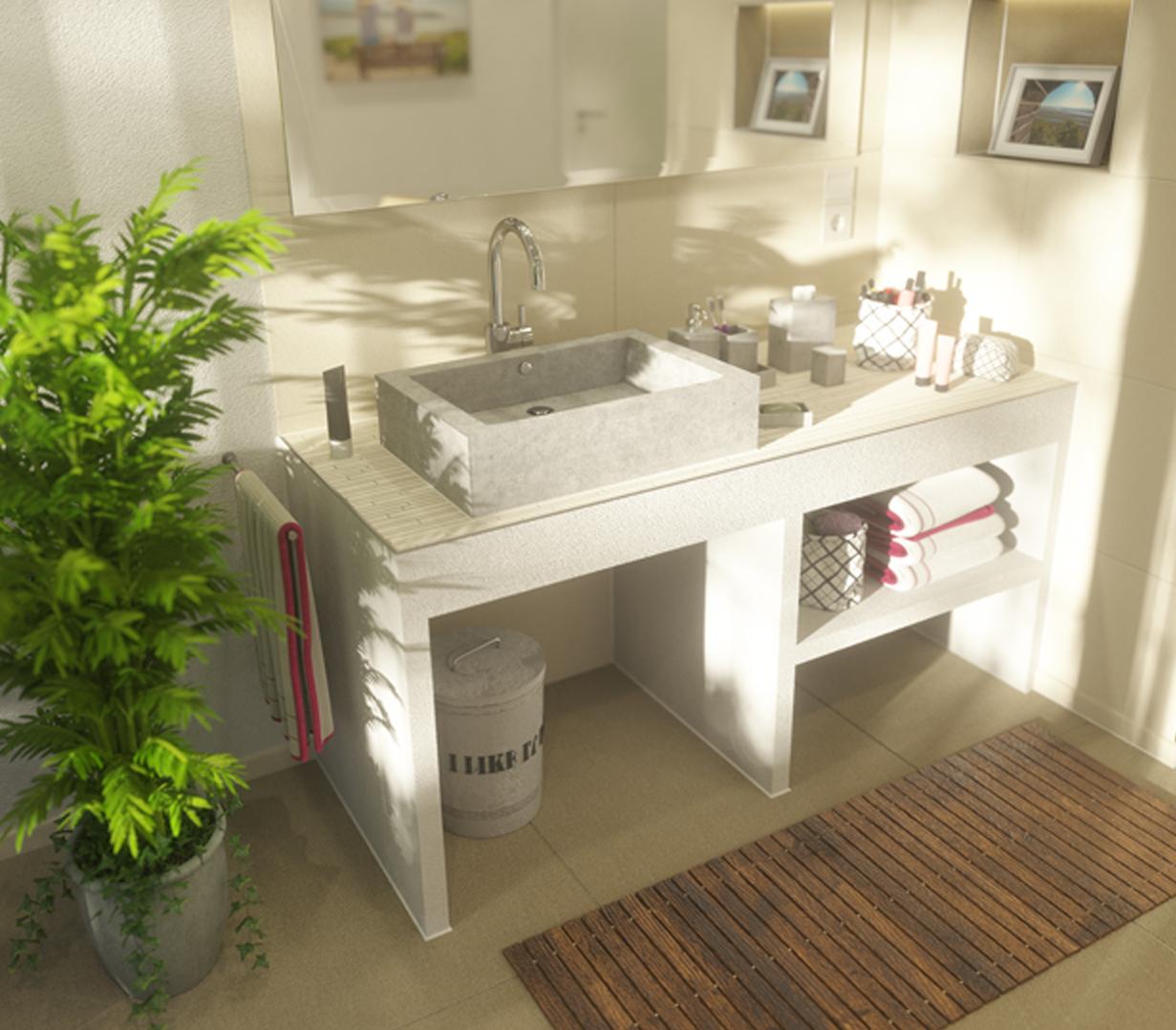 plan de toilette enduit fabriqué sur mesure avec vasque posée