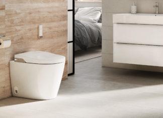 WC lavant posé devant meuble dans une salle de bains