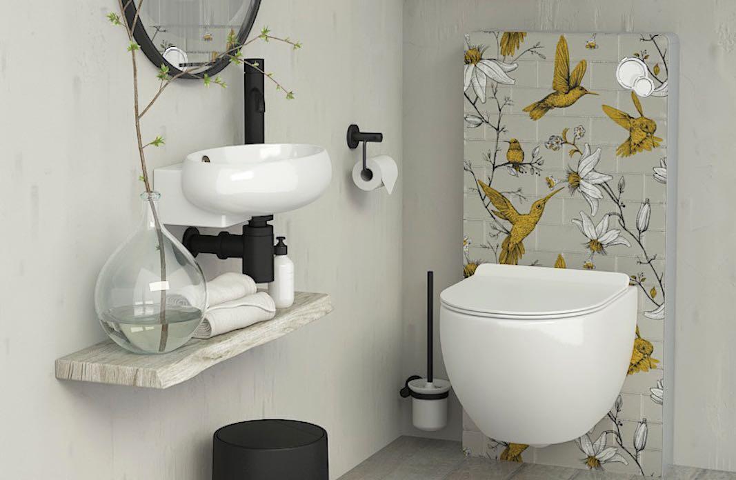 panneau sanitaire WC type monolith avec façade décorée