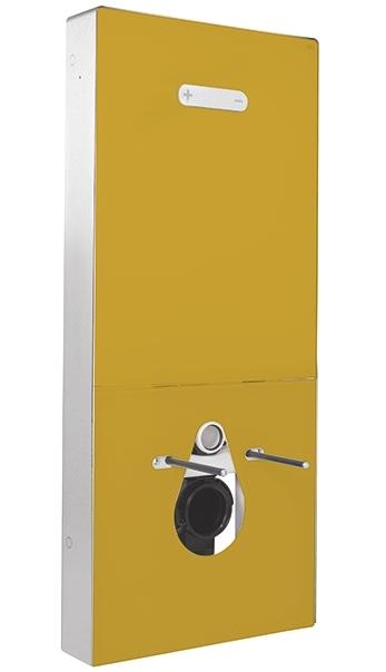 panneau sanitaire de WC Regiplast avec façade verre or