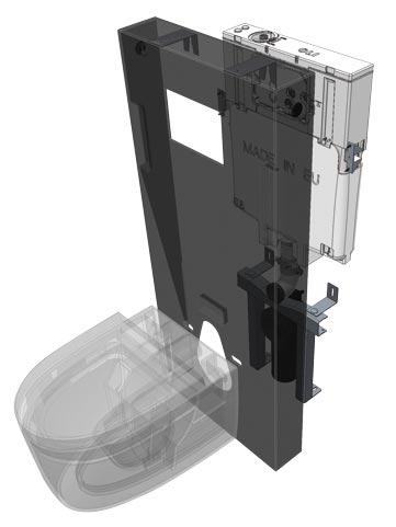 éclaté d'un panneau sanitaire de WC Regiplast