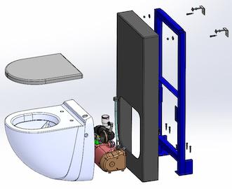 éclaté du panneau sanitaire avec WC broyeur Watermatic
