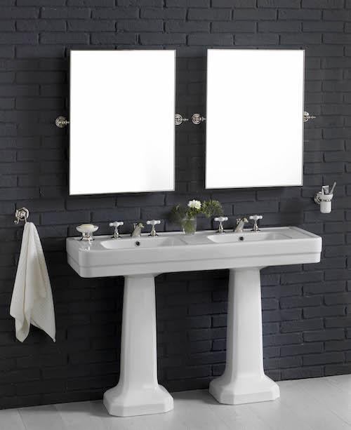 lavabo rétro blanc double vasque double colonne