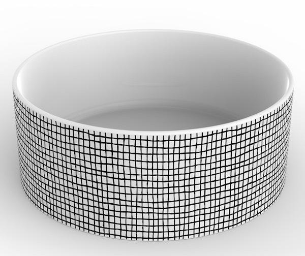 Vasque cylindrique en céramique décorée de petits carrés noirs