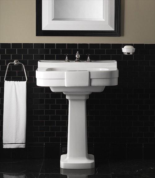 lavabo sur pied rétro blanc