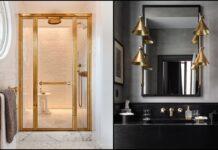 deux exemples de salles de bains avec du doré