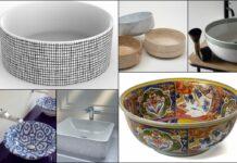 mosaïque de vasques à poser décorées