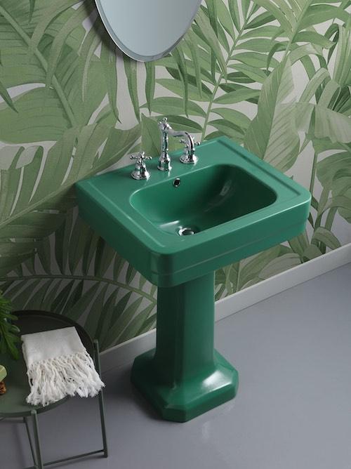 lavabo colonne rétro vert