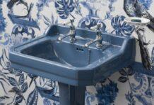 lavabo colonne rétro bleu