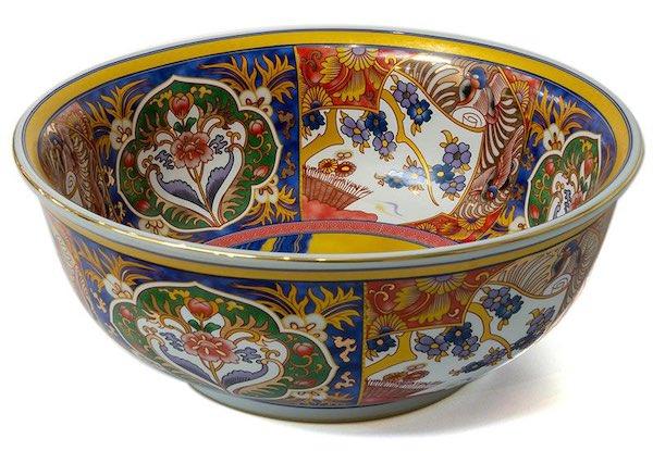vasque ronde en céramique décorée de motifs chinois