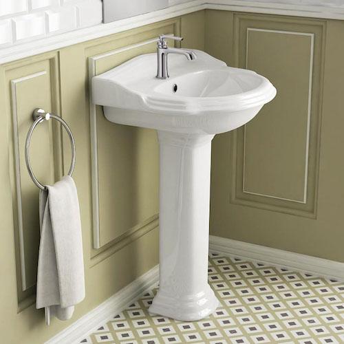 lavabo colonne rétro blanc avec dosseret