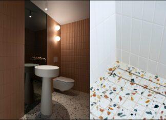 deux vues d'une salle de bains avec lavabo totem et terrazzo au sol