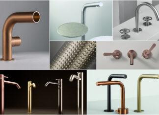mosaïque de photos de robinets en inox