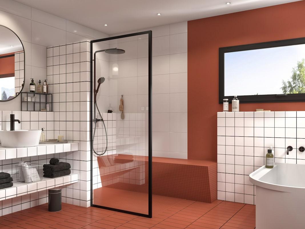 douche ouverte avec un banc en mosaïque