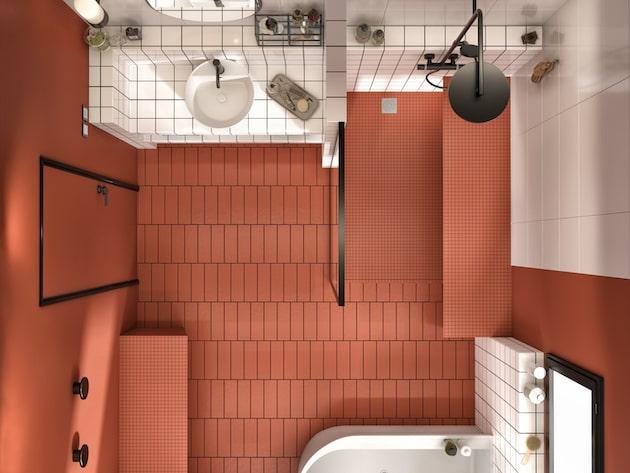 vue de dessus d'une salle de bains mélant le blanc et l'ocre rouge