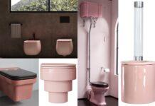 mosaïque de cuvettes WC roses