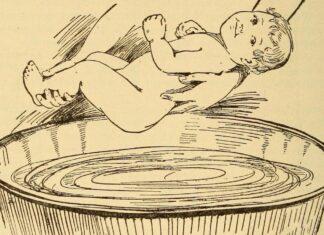 gravure ancienne : un bébé sur le poids d'être baigné dans un baquet