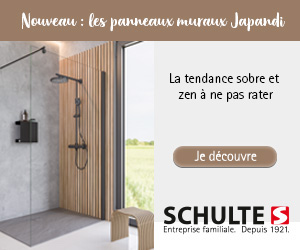 Douche Schulte avec panneaux muraux style Japandi