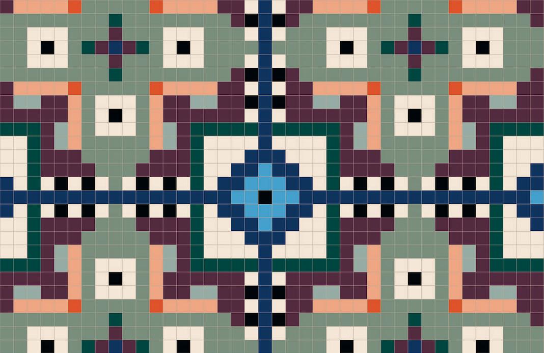 Des carreaux carrés unis dont les couleurs dessinent des motifs